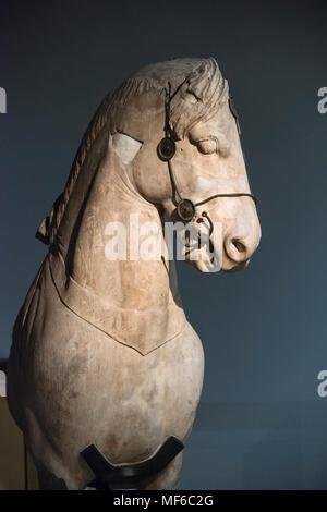 London. England. British Museum, Statue of a horse from the quadriga of the Mausoleum at Halikarnassos (Halicarnassus or Tomb of Mausolus), ca. 350 BC - Stock Photo