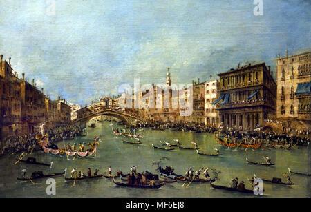 The Grand Canal near Rialto Bridge 1780 Francesco Lazzaro Guardi 1712 – 1793 Italian painter of veduta, nobleman, and a member of the Venetian School. Venice Italy - Stock Photo