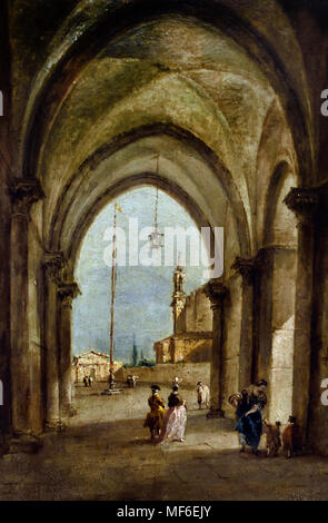 Portico with Figures 1778 by Francesco Lazzaro Guardi 1712 – 1793 Italian painter of veduta, nobleman, and a member of the Venetian School. Venice Italy - Stock Photo