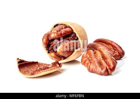Pecan nuts on white - Stock Photo