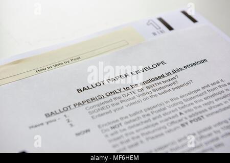 London Borough of Haringey ballot paper envelop for postal voting registered voters. - Stock Photo