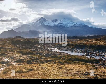 River Sligachan and the mountains , clouds gather.  Sgurr nan Gillean, Cuillin Mountains, Isle of Skye - Stock Photo