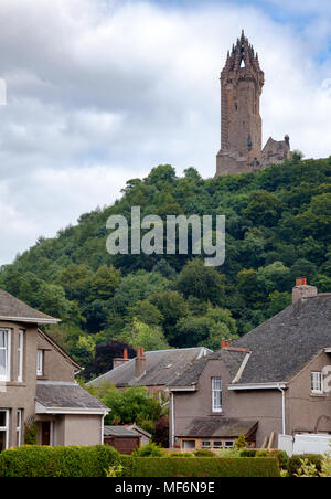 The National Wallace Monument on the summit of Abbey Craig commemorating the 13th century Scottish hero Sir William Wallace, Stirling, Scotland, UK - Stock Photo