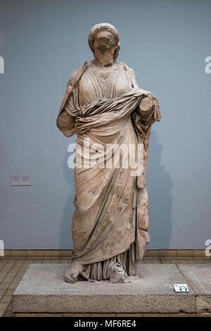 London. England. British Museum, Statue of a woman Artemisia from the Mausoleum at Halikarnassos (Halicarnassus or Tomb of Mausolus), - Stock Photo