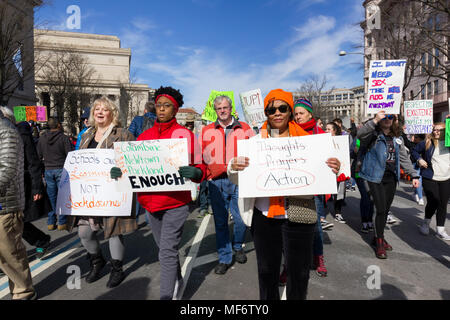 March For Our Lives rally against gun violence  on March 24, 2018 in Washington, DC. - Stock Photo