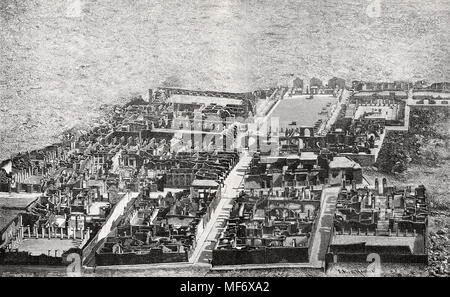 Ruins of Pompeii from above, ancient Roman city of Pompeii, 19th century - Stock Photo