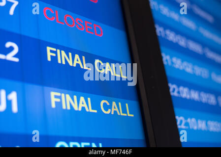 airport flight time schedule on board. selective focus on FINAL CALL word. time concept - Stock Photo