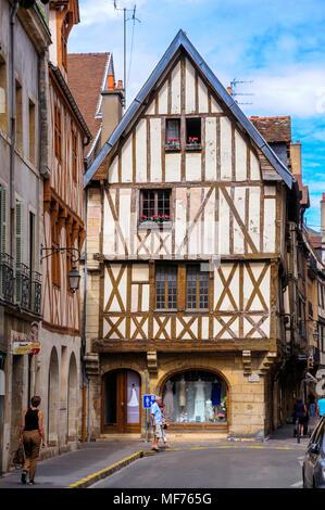 Timber-framed house Dijon. Cote d'Or. Burgundy. France - Stock Photo