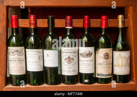 Bottles of 'Grand cru' wine, vinery of Saint-Emilion, Gironde, France, Europe - Stock Photo