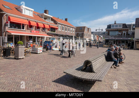 Egmond aan Zee , Noord Holland / The Netherlands - April 24th 2018 : A popular seaside resort on the north west coast of Holland. Tourists enjoying a drink at the local cafe's and restaurants. - Stock Photo
