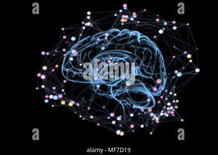 Illustration of the thought processes in the brain. 3D illustration - Stock Photo