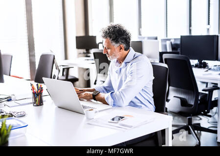 Mature businessman working at desk in office - Stock Photo