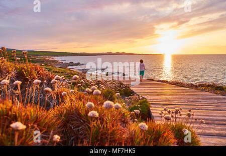 Italy, Sardinia, Lu Litarroni, senior woman on wooden boardwalk at sunset