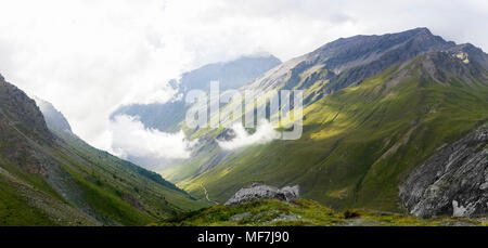 Italy, Piemont, West Alps, Landscape at Colle Sommeiller - Stock Photo