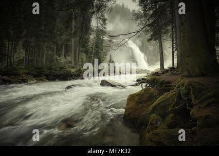 Austria, High Tauern National Park, Krimml waterfalls - Stock Photo