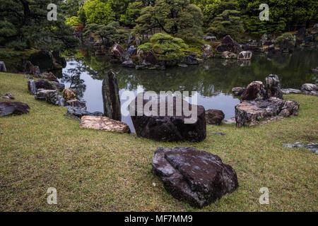 Ninomaru Garden at Nijojo - Ninomaru garden was designed by the landscape architect and garden designer Kobori Ensh and is located adjacent to Ninomar - Stock Photo
