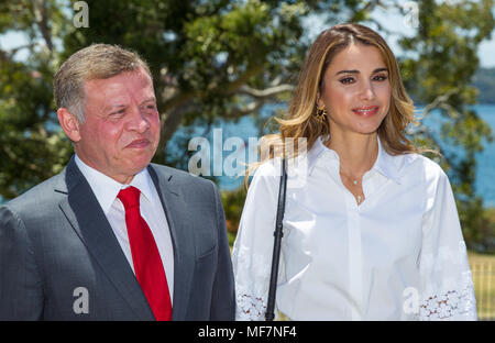 Their Majesties King Abdullah II bin Al-Hussein and Queen Rania Al-Abdullah of Jordan at Government House in Sydney as part of the Royal visit to Australia in November 2016. - Stock Photo