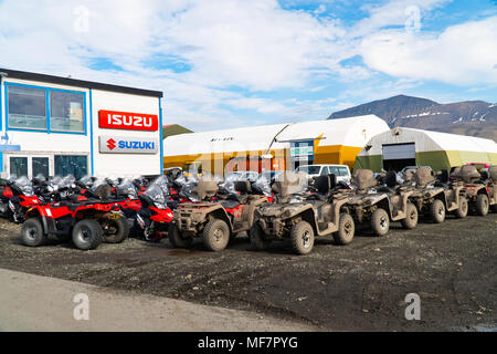 all-terrain vehicle in the  town  Longyearbyen on Spitsbergen, Svalbard Archipelago, Norway - Stock Photo