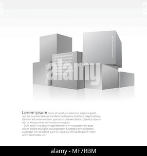 Set of gray cubes stood on each other - Stock Photo