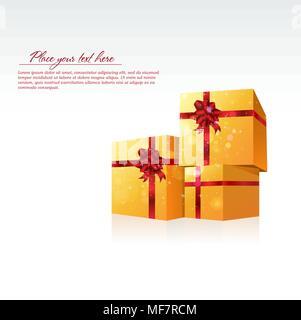 3 gold gift celebrate boxes - Stock Photo