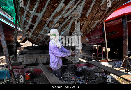 Boat repair and renovation yard, Thailand, Southeast Asia - Stock Photo