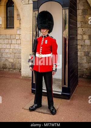 LONDON, ENGLAND - MAY 05, 2016 : British Royal Guard in red Uniform at Tower of London on May 28,2016 in London, England - Stock Photo