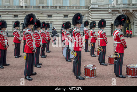 LONDON, ENGLAND - June 26, 2016 - The changing of the guards at Buckingham Palace, London, United Kingdom - Stock Photo