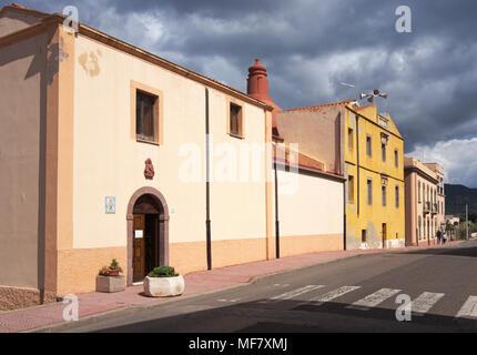 church along a street of Bosa Marina, Sardinia, Italy - Stock Photo
