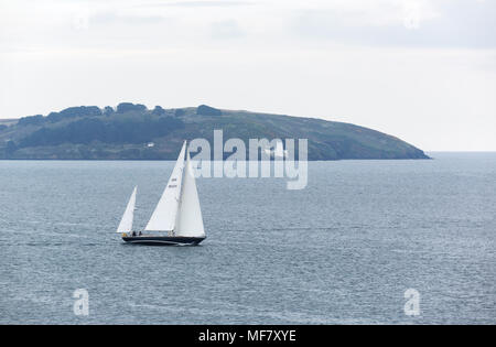Yatch in the bay at Swanpool near Falmouth Cornwall - Stock Photo
