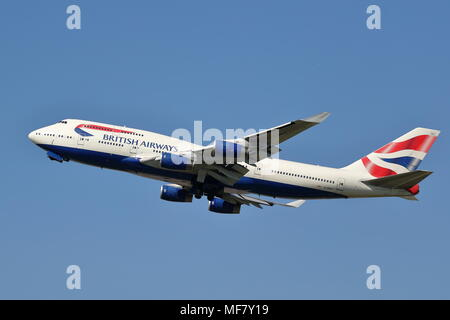 British Airways Boeing 747 G-BNLY takes off at London Heathrow Airport, UK - Stock Photo