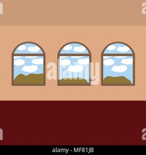 landscape seen through the windows vector illustration design - Stock Photo