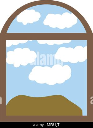 landscape seen through the window vector illustration design - Stock Photo
