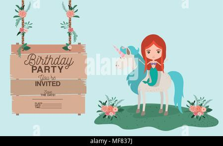 Mermaid with unicorn invitation card vector illustration design mermaid with unicorn and wooden label invitation card vector illustration stock photo stopboris