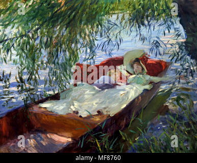 Woman and child asleep in a boat under the willows1887 John Singer Sargent 1856-1925  American Painter  United States of America - Stock Photo