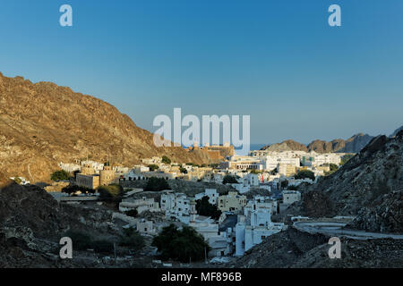 View of Old Muscat from the mountain road. Old Muscat. Sultanate of Oman. Saltanat ʿUmān.  Sultanat Oman. Oman. - Stock Photo