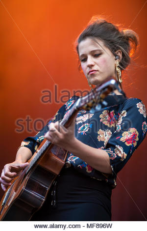 Selah Sue performing live at the first edition of MUSILAC Mont-Blanc music festival in Chamonix (France) - 21 April 2018 - Stock Photo