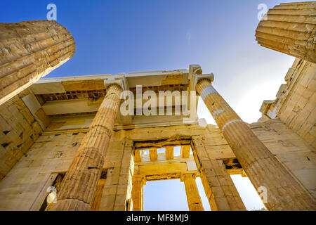 Propylaea Ancient Entrance Gateway Ruins Acropolis Athens Greece Construction ended in 432 BC - Stock Photo