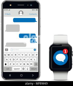 Chatting and messaging concept. Smartphone and smart watch with messaging sms app. Isolated on white background. Vector illustration. - Stock Photo