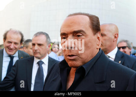 Pordenone, Italy. 24th April 2018. ITALY, Pordenone: Silvio Berlusconi, leader of the Forza Italia party, during electoral campaign for the upcoming regional election in visit to Friuli Venezia Giulia Region on 24th April, 2018. Credit: Andrea Spinelli/Alamy Live News - Stock Photo