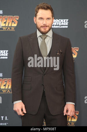 April 23, 2018 - Hollywood, CA, U.S. - 23 April 2018 - Hollywood, California - Chris Pratt. Disney and Marvel's ''Avengers: Infinity War'' Los Angeles Premiere held at Dolby Theater. Photo Credit: F. Sadou/AdMedia (Credit Image: © F. Sadou/AdMedia via ZUMA Wire) - Stock Photo