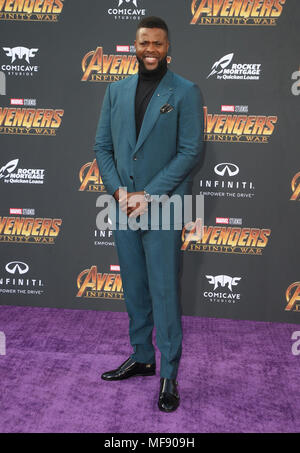 April 23, 2018 - Hollywood, CA, U.S. - 23 April 2018 - Hollywood, California - Winston Duke. Disney and Marvel's ''Avengers: Infinity War'' Los Angeles Premiere held at Dolby Theater. Photo Credit: F. Sadou/AdMedia (Credit Image: © F. Sadou/AdMedia via ZUMA Wire) - Stock Photo