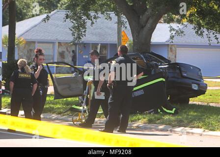 Police investigate Fatal Car Crash Traffic Accident Scene of
