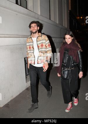 Paris, France. 24th April 2018. Alvaro Soler arriving at NRJ radio Credit: Dimitri MOONEESAWMY/Alamy Live News - Stock Photo