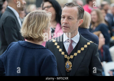 London, UK. 24th April, 2018. Unveiling ceremony of Millicent Fawcett statue in Parliament Square. The first statue of a woman in Parliament Square joins the line-up of male figures to mark the centenary of women's suffrage in Britain - two years after the campaign to get female representation outside the Palace of Westminster began. Credit: Guy Corbishley/Alamy Live News - Stock Photo