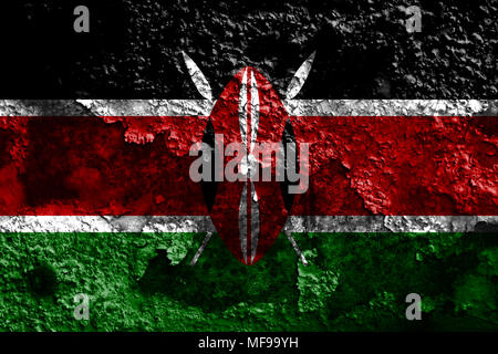 Old Kenya grunge background flag - Stock Photo