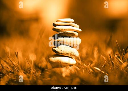 Stacked stones, harmony, balance - Stock Photo