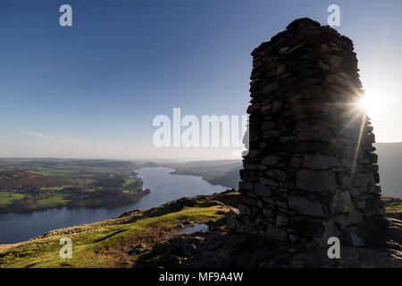 Ullswater from the Summit of Hallin Fell, Lake District, Cumbria, UK. - Stock Photo