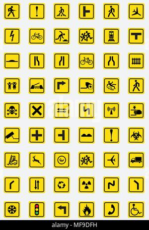 Road signs icon collection - Stock Photo