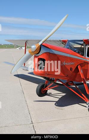 De Havilland DH87 Hornet Moth on the apron of Sumburgh Airport Shetland - Stock Photo