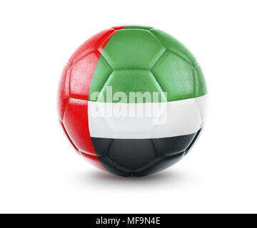 High qualitiy rendering of a soccer ball with the flag of United Arab Emirates.(series) - Stock Photo